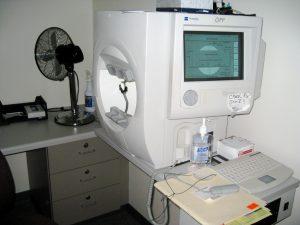 Visual Fields Test Machine in the Glaucoma Dept. at Wills Eye